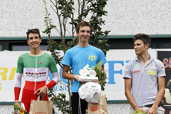 Da sx Martinelli, Zmorka e Ganna, Podio della CronoSbirro Elite-U23 (Foto Kia)