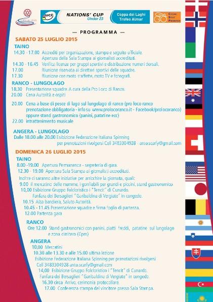 24.07.15 - Programma completo Gara Coppa delle Nazioni