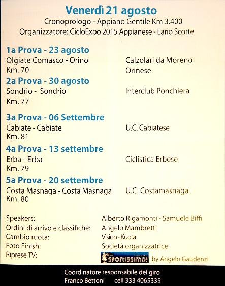 01.08.15 - CALENDARIO DELLE TAPPE 67^ GIRO PROV COMO