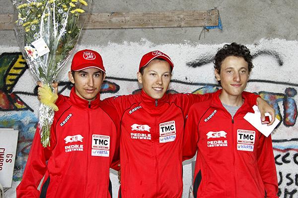 da sx Péiccot, Ferrari e Piccolo, Podio Juniores a Combro (Foto Kia)