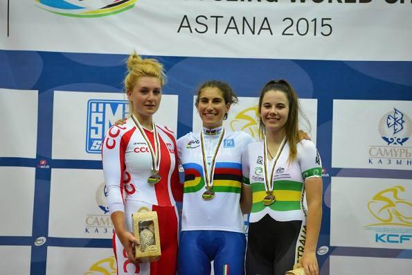 Da sx Kaczkowska (Polonia), Elisa Balsamo I T A L I A N A (Vera) e l'australiana Nicola Mac Donald
