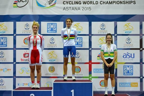 Elisa Balsamo iridata nella specialita^ Scratch ad Astana