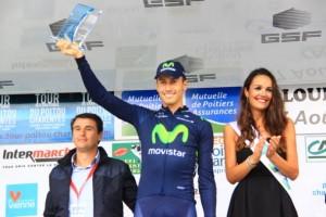 Adriano Malori sul podio quale vincitore della cronotappa (Foto Jean Claude Faucher)