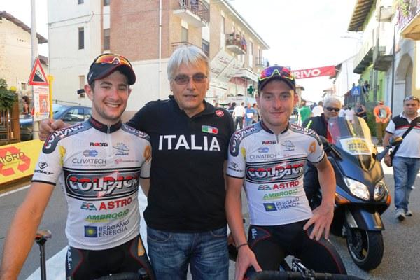 Il CT Marino Amadori qui con Consonni e Minali (Foto Pisoni)