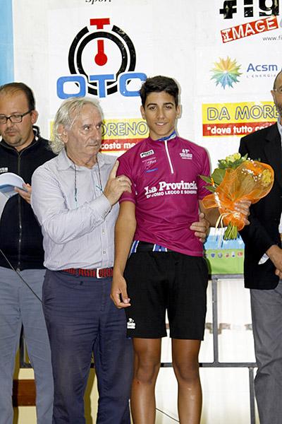 Nicolo^ Parisini in maglia ciclamino vincitore 67^ Giro prov Como (Foto Kia)