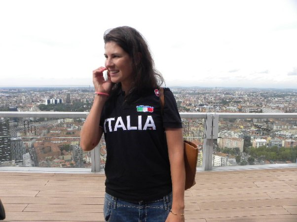 Elena Cecchini sulla terrazza del grattacielo della Regione (Foto Nastasi)