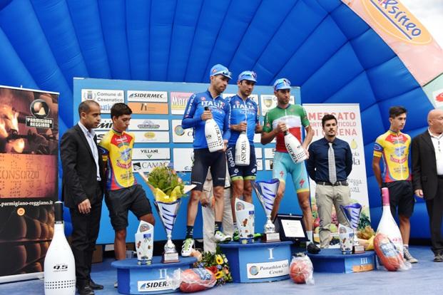 Da sx, Visconti, Ulissi e Nibali, Podio 12^ Memorial Pantani (Foto Armanden)