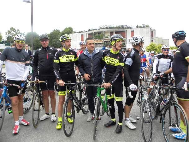 Pronti per la partenza Moser, Iseni, Sindaco Poliseno, Lanzafame (Foto Nastasi)