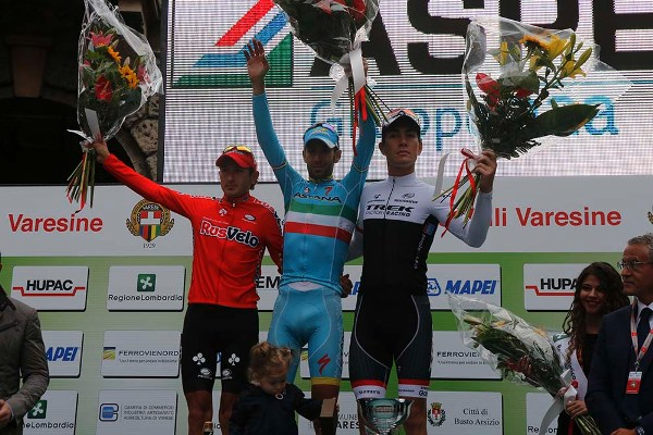 Firsanov, Nibali e Nizzolo, Podio 95^ Tre Valli Varesine (Foto Pisoni)
