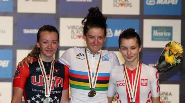 da sx, Emma White, Chloe Dygert e Agnieszka Skalniak podio iridato donne juniores a Richmond (USA)