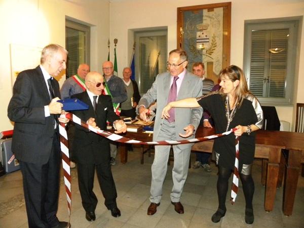 Longo, Severini, Macchi e Rabolla al taglio del nastro mostra (Foto Nastasi)