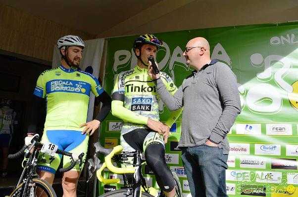 05.11.15 - Ivan Basso durante l'intervista dello speaker presentatore Alessandro Malagesi