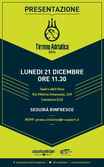16.12.15 - invito pres Tirreno-Adriatico 2016