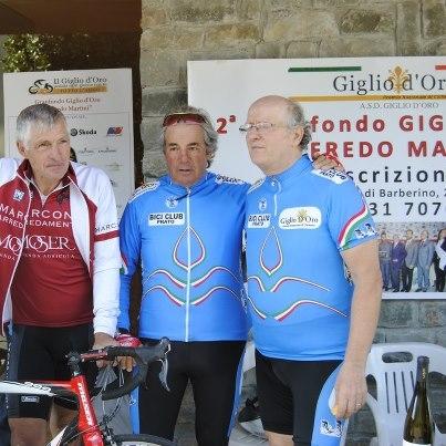 Da sx Francesco Moser, Enzo Ricciarini e Carmignani  (Giglio)