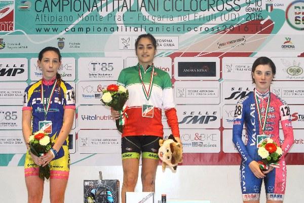 Campionato Italiano Ciclocross-da sx Letizia Motalli, Alessandra Grillo e Gaia Masetti, Podio TRICOLORE, Donne Allieve 1^ (Foto Scanferla)