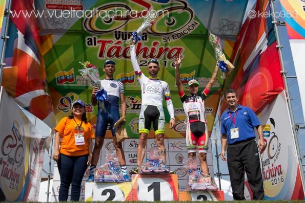 Eugenio Bani nato il 13.01.1991 sul gradino più^ alto del podio della 4^ tappa della 51^ Vuelta al Tachira