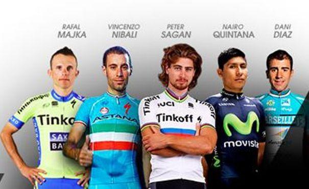 16.01.16 - da sx, Majka, Nibali, Sagan, Quintana e Diaz