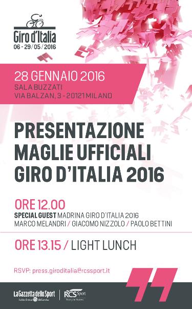 28.01.16 - PRESENTAZIONE UFFICIALE MAGLIE GIRO 2016