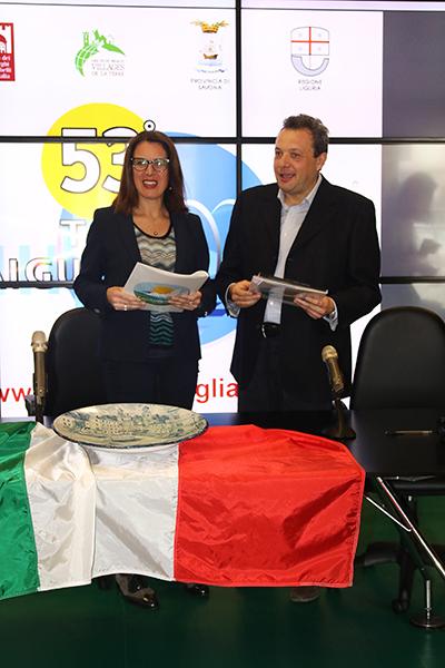 Ilaria Cavo Assessore Sport Liguria e Franco Maglione Sindaco Laigueglia (Foto Kia Castelli)