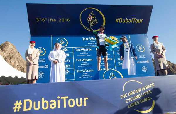Cycling: Dubai Tour 2016 - Marcin Bialoblocki (Pol-One Procycling) Capoclassifica TV - Foto Ansa
