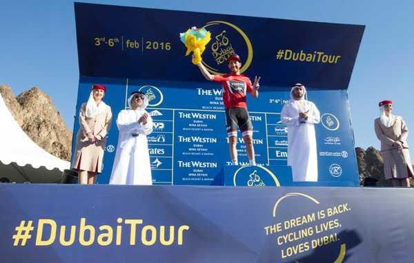 Cycling: Dubai Tour 2016 - Nizzolo in maglia rossa di capoclassifica a punti (Foto Ansa)