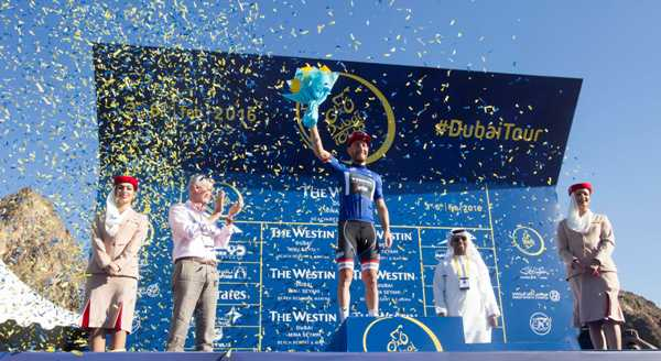 Cycling: Dubai Tour 2016 - Giacomo Nizzolo capoclassifica della Generale (Foto Ansa)
