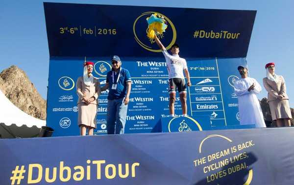 Cycling: Dubai Tour 2016 - Sufiane Haddi, Marocco, Maglia Bianca capoclassifica giovani (Foto Ansa)