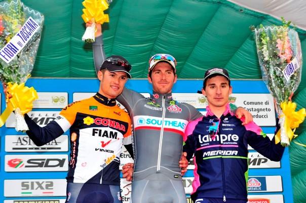 Da sx, Vigano^, Belletti e Bonifazio, podio 20^ GP Costa Etruschi l'8.2.2015