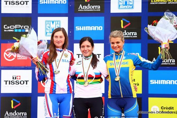 Podio Mondiale con Ramona Forchini in maglia iridata Mtb