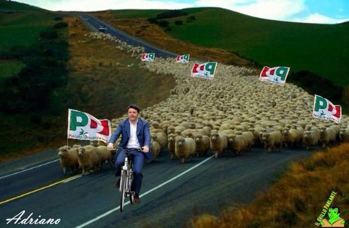 21.02.16 - renzi con pecore comuniste