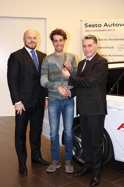 Toffoli, Aru e Dordi, consegna delle chiavi dell'Audi A6 (Foto Kia)