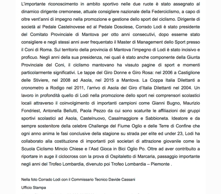 Ciclismo 2- Assegnata a Corrado Lodi la Stella di Bronzo - 2