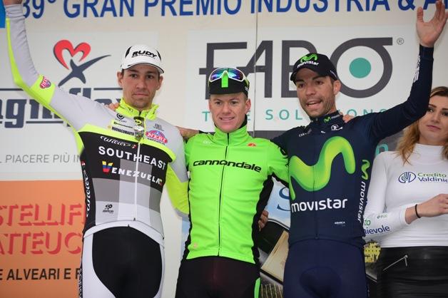 Da sx, Fedi, Clarcke e Visconti, Podio del 39^ GP Larciano (Foto Stefano Sirotti)