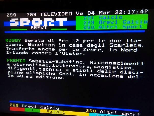 11.03.16 - Televideo Rai Sport  Premio Unvs - Sabatia - Sabatino 2015 - notizia trasmessa il giorno 04 marzo 2016 ore 1630 Pagina 299 Foglio - 2