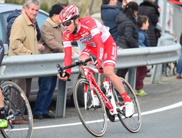 Giorgio Cecchinel in fuga nella 3^ tappa della 51^ Tirreno-Adriatico