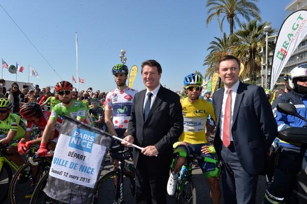 Paris-Nice 2016 - 12/03/2016 - Etape 6 : Nice / La Madone d'Utelle (177km) - Le maillot vert  BOUHANNI Nacer, Cofidis, le maillot à pois du meilleur grimpeur, HERRADA LOPEZ Jesus, Movistar Team, Le Maillot Jaune, MATTHEWS Michael, Orica GreenEDGE au départ de l'étape avec le Maire de Nice Christian ESTROSI et le Président de l'Union Européenne de Cyclisme David LAPPARTIENT