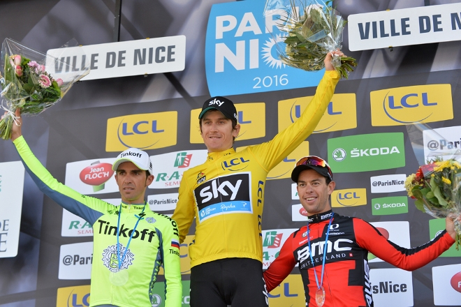 Paris-Nice 2016 - 13/03/2016 - Etape 7 - Nice > Nice - (141 km) - Podium, 2ème, CONTADOR Alberto, tinkoff, le vainqueur maillot jaune, THOMAS Geraint, Team SKY, 3ème PORTE Richie, BMC Racing Team, sur le podium final