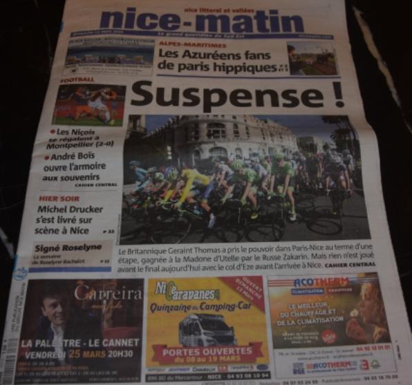 Prima pagina odierna del Quotidiano francese Nice Matin (Foto di Aldo Trovati)