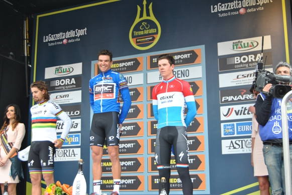 da sx, Sagan, Van Avermaet e Jungels - Podio 51^ Tirreno Adriatico (Foto Miserocchi)