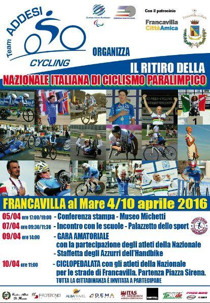 18.03.16 - Locandina Ritiro Paraciclismo Francavilla aprile 2016