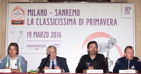 da sx Sagan, Pisapia, Cancellara e Kristoff (Ansa-Peri)