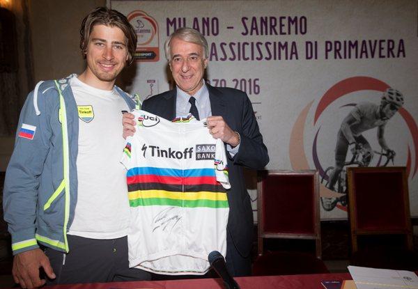 Sagan e Pisapia con maglia iridata (Ansa-Peri)