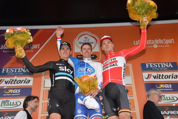 Swift, Demare e Roelands <podio Sanremo (Ansa-Peri)