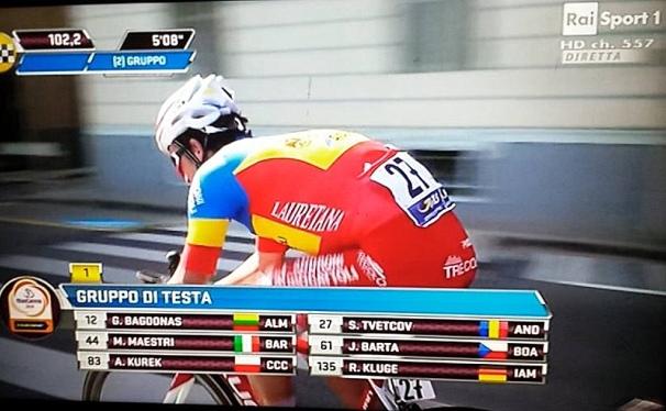 Serghei Tevtcov in fuga nella 107^ Milano-Sanremo