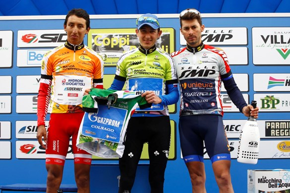Settimana Internazionale di Coppi e Bartali 2016-i titolari delle 4 maglie finali (Bettini)