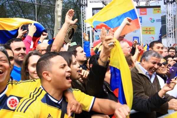 Tifosi colombiani a Barcellona (Foto Jean Claude Faucher)