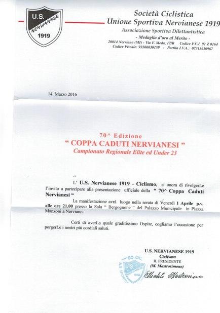 31.03.16 - AVVISO PRESENTAZIONE 70^ COPPA CADUTI NERVIANESI