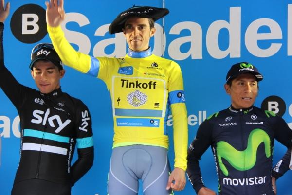 da sx Henao, Contador e Quintana, Podio del 56° Giro Paesi Baschi (Foto JC Faucher)