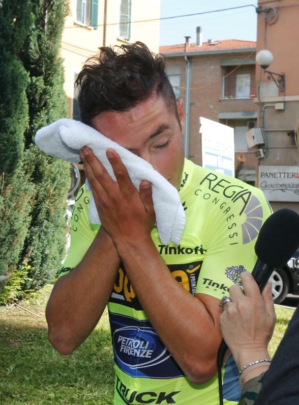Vincenzo Albanese dopo l'arrivo (Foto Antonio Pisoni)