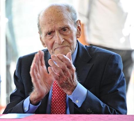 Alfredo Martini partecipa all'inaugurazione della scultura di marmo dedicata a Franco Ballerini, il 20 settembre 2013.  ANSA/MAURIZIO DEGL'INNOCENTI
